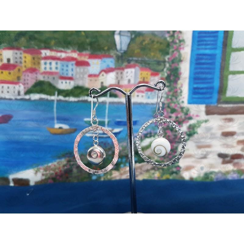 LE 0412 Earrings Shiva Eye Shell Silver