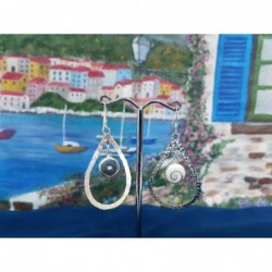 LE 0413 Earrings Shiva Eye Shell Silver