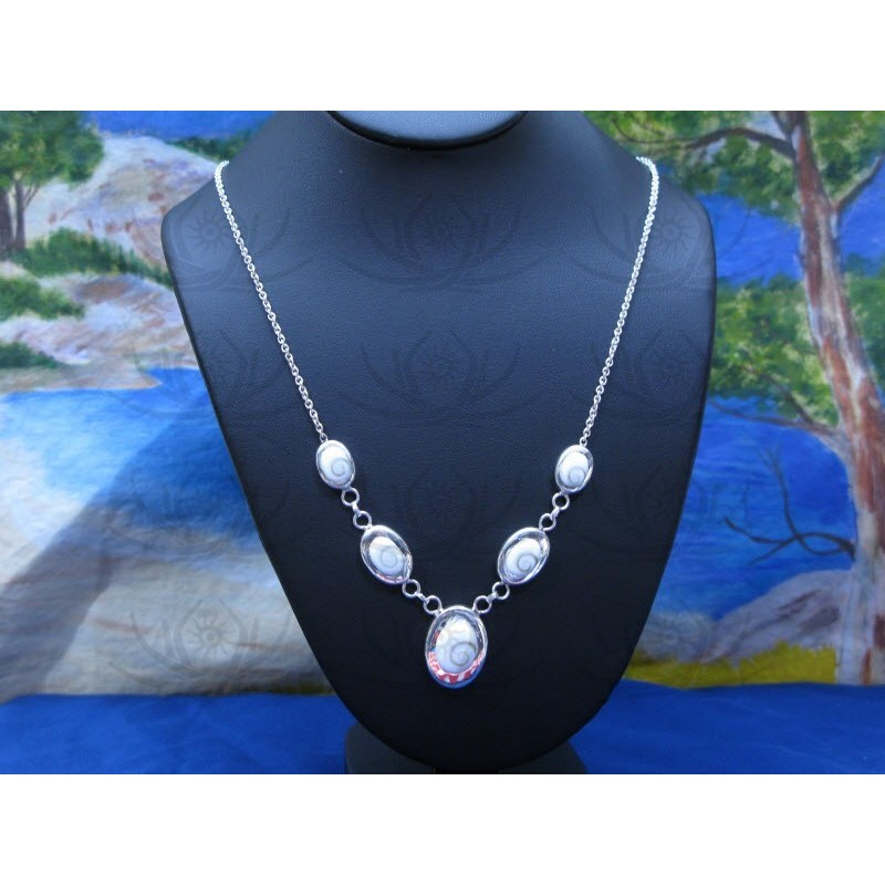 NS 0065 Necklace Shiva Eye Shell Silver