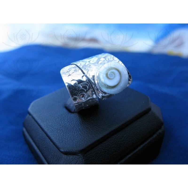 SR 0001 Ring Shiva Eye Shell Silver