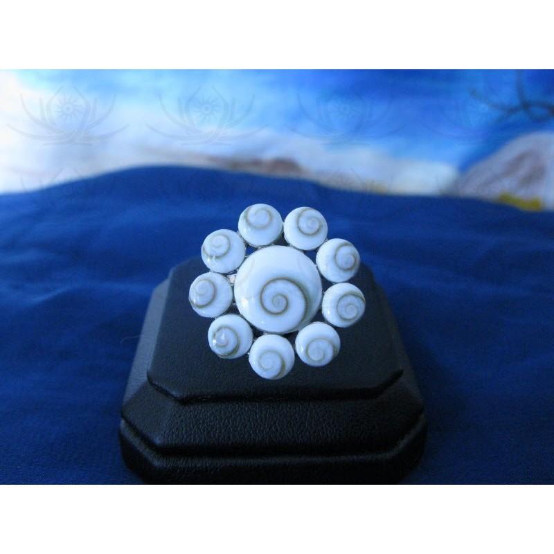 SR 0066 Ring Shiva Eye Shell Silver