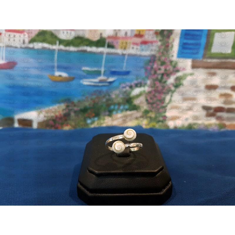 SR 0134r Ring Shiva Eye Shell Silver
