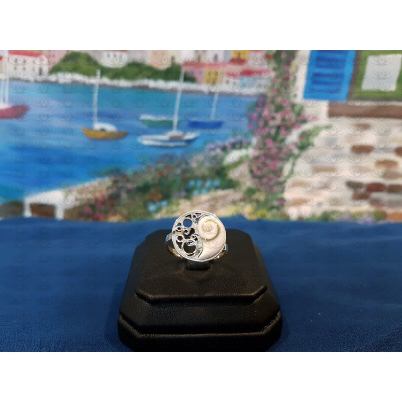 SR 0142 Ring Shiva Eye Shell Silver