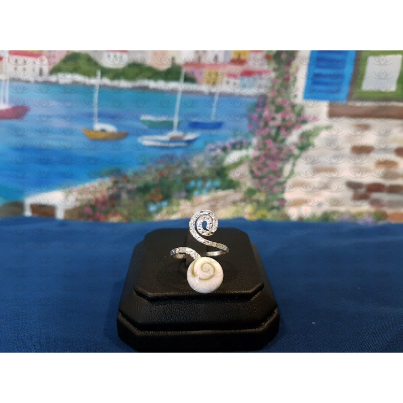 SR 0169 Ring Shiva Eye Shell Silver