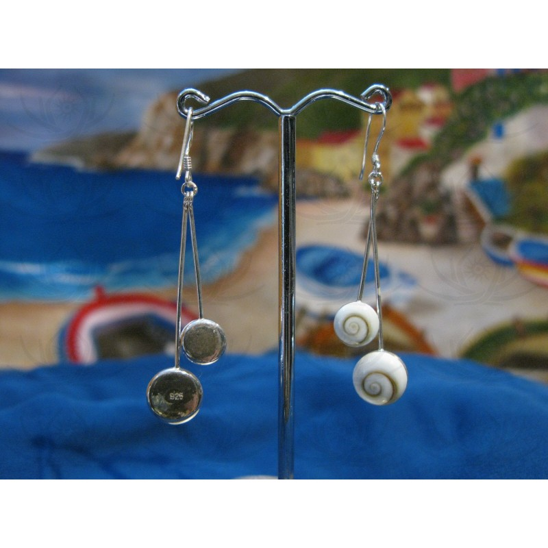 LE 0002 Earrings Shiva Eye Shell Silver