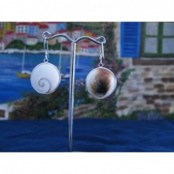 LE 0010 Earrings Shiva Eye Shell Silver
