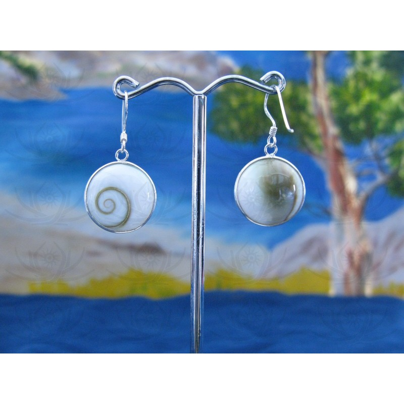LE 0011 Earrings Shiva Eye Shell Silver